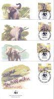 L'Eléphant D'Asie - 4 FDC Sri Lanka De 1986 - Série Complète - Elefanten