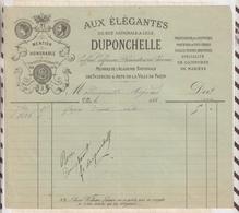 8/81 Lettre Facture AUX ELEGANTES DUPONCHELLE LILLE COIFFEUR / 1886 - France