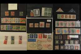 INTERESTING ACCUMULATION IN A LADIES CROCODILE SKIN HANDBAG Mostly On Stock Cards With Much Being From Auction Houses Fr - Stamps