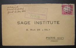 """1930 Lettre Recommandée  Avec N°242 Oblitéré """"bouchon"""" Sur Une Lettre Pour Paris (Sage Institute) - Covers & Documents"""