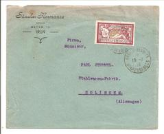 Merson 1Fr Yv121 SEUL.Irun>Gare D'Hendaye>Allemagne - Marcophilie (Lettres)
