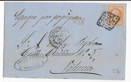 1868 - EMPIRE LAURE - LETTRE De MARSEILLE => VALENCIA (ESPAGNE) - 1849-1876: Klassik