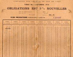 VP12.686 - 1917 - Document De La Compagnie Des Chemins De Fer De L'Est - OBLIGATIONS EST ....... - Chemin De Fer