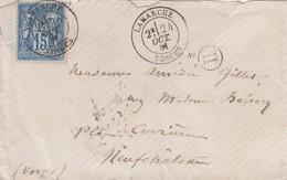 LETTRE. SAGE 15c. 24 OCT 81.  VOSGES LAMARCHE. BOITE RURALE H  / 5 - Marcophilie (Lettres)