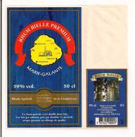 Etiquette   Rhum  Bielle Premium - Distillé Deux Fois - 59% 50 Cl - Contre étiquette Avec Colonne Et Alambic - - Rhum