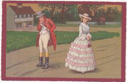 Personnages En Costume / Homme En Tenue D'équitation Et Femme En Robe Longue / 18e Ou 19e - Pintura & Cuadros