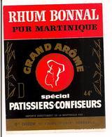 Etiquette   Rhum  Bonnal Pur Martinique - Grand Arôme - Spécial Patissiers-confiseurs - Disbor à Bordeaux - - Rhum