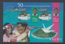 Nauru 1996 50th Anniversary Of Nauruan Return From Truk - MUH Miniature Sheet - Nauru
