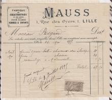 8/56 Lettre Facture MAUSS FABRIQUE DE CHAUSSURES LILLE /1895 - France