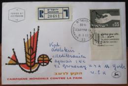 1963 CAMPAGNE MONDIALE CONTRE LA FAIM With No Address Above JERUSALEM CACHET AIRMAIL POST STAMP TAB ENVELOPE ISRAEL - Israel