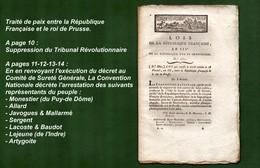D-FR Révolution 1795 Traité De Paix Entre La République Française Et Le Roi De Prusse Et Plus Encore... - Documents Historiques