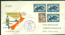 KLM * LP * BRIEFOMSLAG  KLM-VLUCHT Uit 1953 HANDICAP-RACE AMSTERDAM Via LONDON Naar CHRISTCHURCH NEW ZEALAND  (11.216) - Periode 1949-1980 (Juliana)