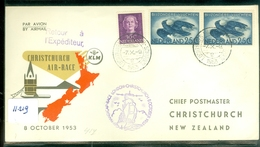 KLM * LP * BRIEFOMSLAG  KLM-VLUCHT Uit 1953 HANDICAP-RACE AMSTERDAM Via LONDON Naar CHRISTCHURCH NEW ZEALAND  (11.219) - Covers & Documents