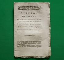 D-FR Révolution 1795 Opinion De SIEYES Sur Les Attributions Et L'organisation Du Jury Constitutionnaire - Documents Historiques