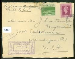L.P.  BRIEFSTUK Uit 1946 Gelopen Van VLISSINGEN Per 1e KLM VLUCHT AMSTERDAM - NEW YORK Naar MICHIGAN   (11.221) - Period 1891-1948 (Wilhelmina)