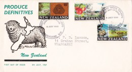 New Zealand 1969 Produce Definitives FDC - Wool, Apples, Cattle - FDC
