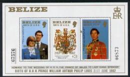 1501 Belize 1982 Birth Of Prince William M/sheet (2nd Series) U/m (royalty William Charles Diana) - Belize (1973-...)