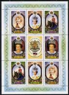 12937 Belize 1986 60th Birthday Of Queen Elizabeth II Perf Sheetlet Containing 2 Sets Of 4 Plus Label (royalty Horses) - Belize (1973-...)
