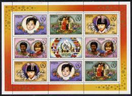 12668 Belize 1986 International Peace Year Perf Sheetlet Containing 2 Sets Of 4 Plus Label U/m (peace Children) - Belize (1973-...)