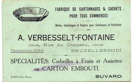 Buvard Vloeipapier - Fabrique Cartonnages & Sachets - A. Verbesselt - Fontaine - Bruxelles - Stationeries (flat Articles)