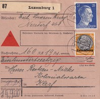 LUXEMBURG 1941 COLIS POSTAL CONTRE REMBOURSEMENT DE LUXEMBURG - Occupation 1938-45