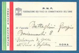 CARTOLINA DI ADUNATA! FEDERAZIONE DEI FASCI DELL'URBE - Documents