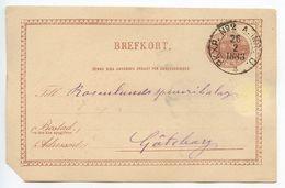Sweden 1883 6o. Crowns Postal Card PKXP No. 2 TPO Postmark - Postal Stationery