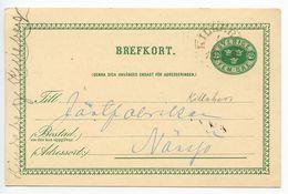 Sweden 1892 5o. Crowns Postal Card Killeberg To Nänsjö - Postal Stationery