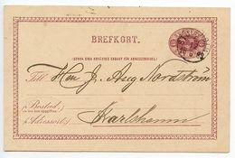 Sweden 1883 6o. Crowns Postal Card Stockholm To Karlshamn - Postal Stationery