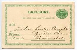Sweden 1900's 5o. Crowns Postal Card To Kristianstad - Postal Stationery