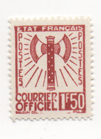 "Fra688 Francia Francobollo Servizio ""Francisque"" | Courrier Officiel N.8 Timbre Service France | 1,50 Francs Brun - 1943 - Nuevos"