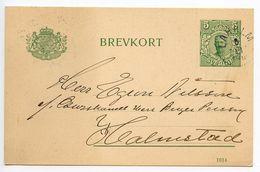 Sweden 1915 5o. Gustaf V Postal Card Laholm To Halmstad - Postal Stationery