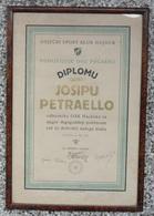 "HRVATSKI SPORTSKI KLUB ""HAJDUK"" - OSIJEK, DIPLOMA JOSIPU PETRAELLO 1927 FOOTBALL CLUB HAJDUK, OSIJEK - Sports"
