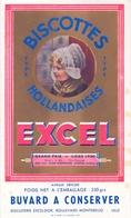 Buvard Vloeipapier - Biscottes Hollandaises - EXCEL - Biscuiterie Excelsior - Lille - 1935 - Sucreries & Gâteaux