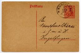 Germany 1920 10pf Postal Card Künzelsau To Ingelfingen - Germany