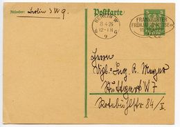 Germany 1926 5pf Eagle Postal Card Berlin Cancel W/ Frankfurt Fair Slogan - Entiers Postaux