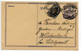 Germany 1922 Uprated Postal Card Brandenburg To Winterbach - Entiers Postaux