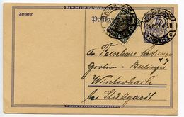 Germany 1922 Uprated Postal Card Brandenburg To Winterbach - Germany