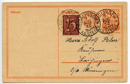 Germany 1922 Surcharged & Uprated Postal Card Geislingen A.d. Steige Pmk - Entiers Postaux