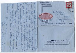 Australia 1957 10p. Coat Of Arms/Olympics Aerogramme Redfern To Davis CA - Aérogrammes