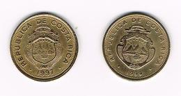 &  COSTA RICA  2 X 5 COLONES  1997/99 - Costa Rica