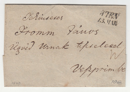 Austria Prephilately Letter Cover Travelled 1840 Wien To Vesprim B180702 - ...-1850 Vorphilatelie