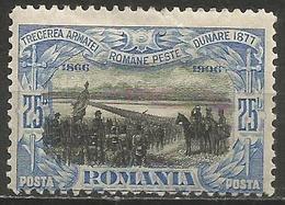 Romania - 1906 Arny Crossing Danube 25b MH *   SG 508 - 1881-1918: Charles I