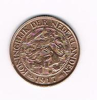 &   NEDERLAND  1 CENT  1917  WILHELMINA - [ 3] 1815-… : Kingdom Of The Netherlands