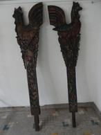 VERY RARE ; ANCIENNE PAIRE DE PROUE DE BATEAU EN BOIS SCULPTE & POLYCHROME MOTIF COQ - Art