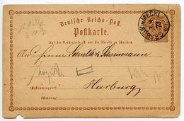 Germany 1873 ½gr Eagle Postal Card Grabow To Harburg - Entiers Postaux