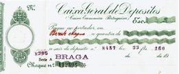 Portugal , Caixa Geral De Depósitos , Braga Agency , Cheque , Check , White Seal , Early 20 Century - Assegni & Assegni Di Viaggio