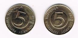 &  SLOVENIE 2 X 5 TOLARJEV  1994/98 - Slovénie