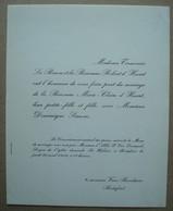 Faire-part Du Mariage De La Baronne Marie-Claire D'Huart & Dominique Simons. - 1956. - Mariage