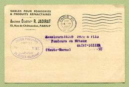 """"""" PARIS XII - P.P. """"  1947 Sur Carte """" R. JADIRAT - Sables Pour Fonderies """" - Marcophilie (Lettres)"""